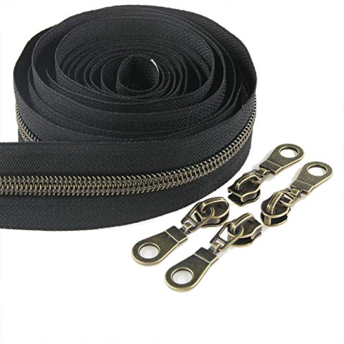 #5 Gunmetal Metallic Nylon Coil Zippers by The Yard Bulk 10 Yards Black Tape with 25pcs Gold Sliders for DIY Sewing Tailor Craft Bag Leekayer(Black)