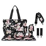 Leaper Floral Diaper Tote Bag Shoulder Bag Wtaerproof Handbags Nappy Bag Black
