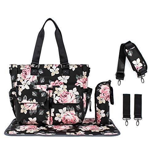 (Leaper Floral Diaper Tote Bag Shoulder Bag Beach Bag Handbags Nappy Bag Black)