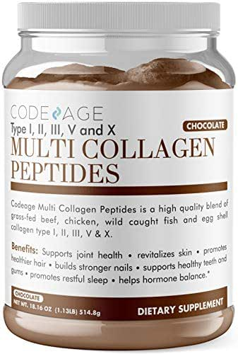 Codeage Multi Collagen Protein Powder Chocolate Flavor, Type I, II, III, V, X, Grass Fed All in One Super Bone Broth and Collagen, 18 Ounces