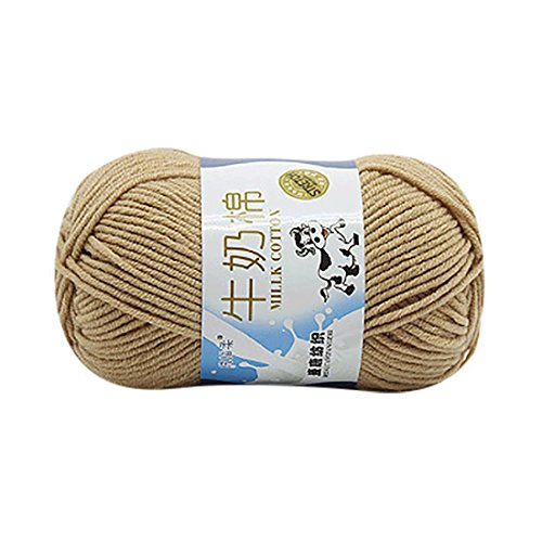 Molyveva Bonbons Yarn Skeins Assorted Colors for Crochet & Knitting Multi Pack Variety Colored Assortment - 100% Cotton Yarn Skeins - 1 Piece (Khaki)