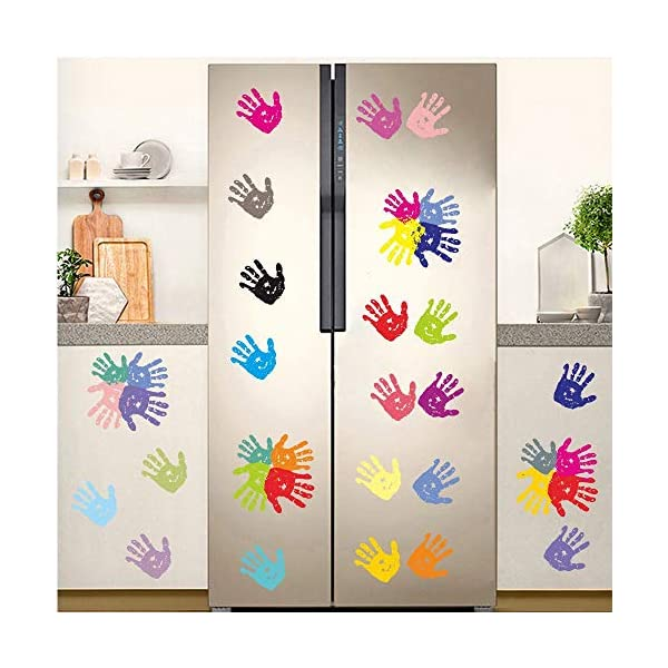 BUCKOO Colorful Hand Prints Wall Decal Sticker - Unicorn Angel Flower Wall Decal Polka Dot Eyebrow Wall Sticker - Ocean Animal Wall Decal, Pirate Ship Wall Decal 4