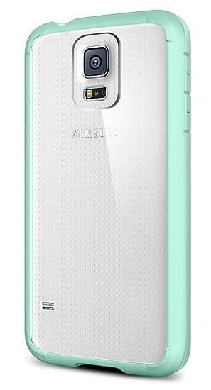 Spigen Bumper Case - Carcasa para Samsung Galaxy S5, transparente y azul