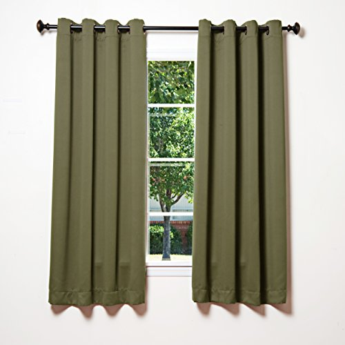 """Best Home Fashion Thermal Insulated Blackout Curtains - Antique Bronze Grommet Top - Olive - 52""""W x 63""""L - (Set of 2 Panels)"""