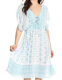 Sakkas Denika Aztec Print Summer Midi Dress Cover-up with V Neck