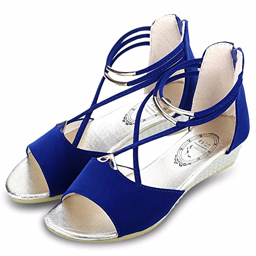 Fashion Sandles Ladies Zip Open Toe Beach Shoes Sexy Red Women's Shoes Summer Cross Strap Flat Sandals Zapatos Mujer Sandalias Size 7 Blue