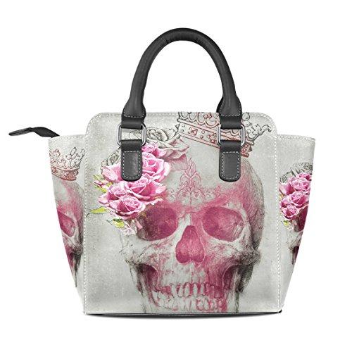 Bags Women's Custom Skull Flower Handbags Leather TIZORAX Shoulder Tote S4zqwxw