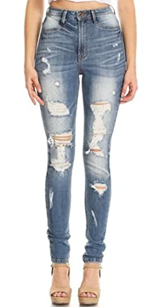 58597ad51ad3f Image Unavailable. Image not available for. Color  Monotiques Women s  Ripped Distressed Skinny Denim Jeans