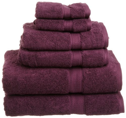 Set Plum (Superior 900 GSM Luxury Bathroom 6-Piece Towel Set, Made of 100% Premium Long-Staple Combed Cotton, 2 Hotel & Spa Quality Washcloths, 2 Hand Towels, and 2 Bath Towels - Plum)