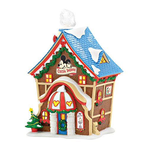 Department 56 Disney Village Mickey's Cocoa Shoppe Lit House, 6.89 inch (Village 56 Disney)