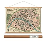 Cavallini Papers Paris Map Vintage Style Decorative Poster & Hanger Kit, 20'' x 28''
