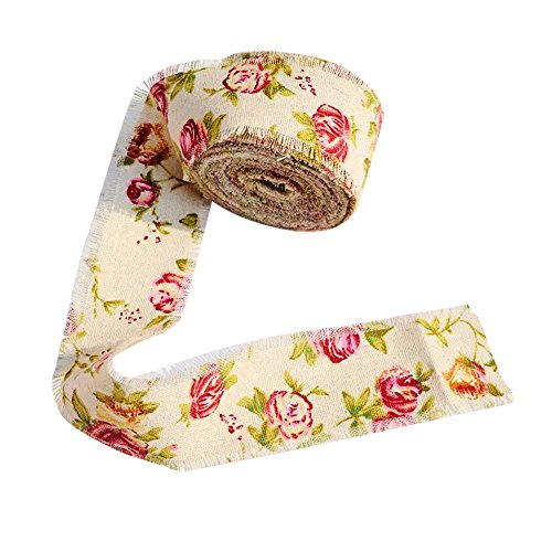 WallyE Craft Floral Burlap Ribbon Roll for Rustic Wedding or Bridal Shower Tea Party, 10 Yards ()