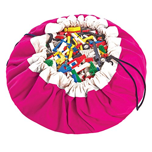 Toy Sack - Play Mat and Toy Storage Bag - Durable Floor Activity Organizer Mat - Large Drawstring Portable Container for Kids Toys, Books - 55
