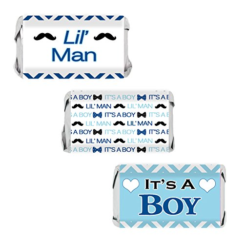 Little Man - Blue Boy Baby Shower Miniatures Candy Bar Wrapper Stickers (54 Count) (Baby Candy Shower Wrappers Miniature)