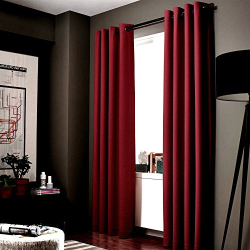 GorgeousHome (ADAM) 1 BURGUNDY WINE Solid Panel 100% Room Darkening Insulated Thermal Lined Blackout Window Bronze Grommets Curtain (35