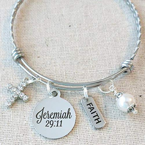 SCRIPTURE Jewelry, JEREMIAH 29:11 Prayer Bracelet, For I Know The Plans I Have For You Faith Hope Bracelet Gift, 2019 Scripture Graduation or Retirement Charm Bracelet, Religious Jewelry