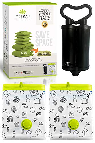 Vacuum Storage Bags Space Saver - Premium Reusable 100 Microns 12 Pack Bundle (Medium + Large + Extra Large + Jumbo - Each 3nos) + Free Hand Pump - Compression & Shrinks Upto 80% - For Home & Travel by Tissaj
