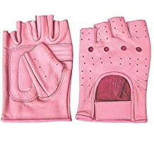 Ladies Pink Leather Fingerless Gloves W/Padded Palm