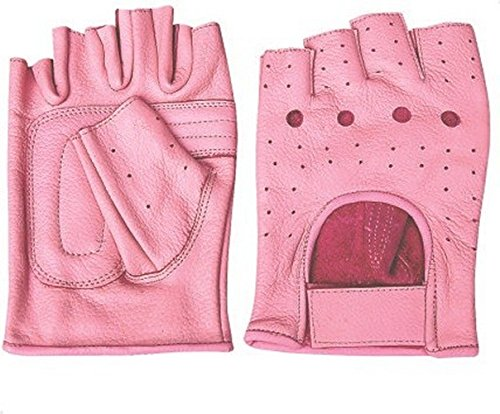 - Ladies Pink Leather Fingerless Gloves W/Padded Palm AL-3012-XL