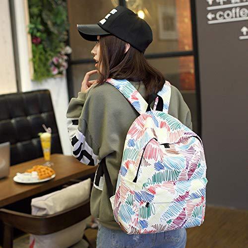 Impression Design Rucksack Ligne À Graffiti Sac Line Dos Voyage Femme Feuilles Sacs Bagpack Filles VHVCX Mode Femmes D'École Toile Mochila qxwdBUqzC