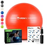 URBNFit Exercise Ball (Multiple Sizes) for Fitness, Stability, Balance & Yoga - Workout Guide & Quick Pump Included - Anti Burst Professional Quality Design (Red, 55CM)