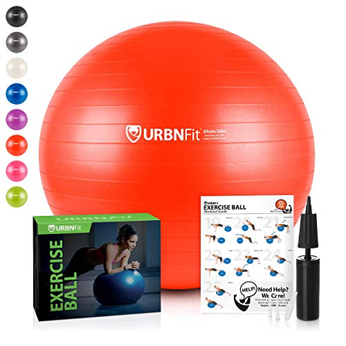 (URBNFit Exercise Ball (Multiple Sizes) for Fitness, Stability, Balance & Yoga - Workout Guide & Quick Pump Included - Anti Burst Professional Quality Design (Red,)