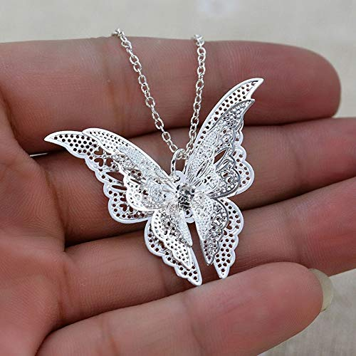 JESMING Silver Lovely Butterfly Pendant Chain Necklace 20