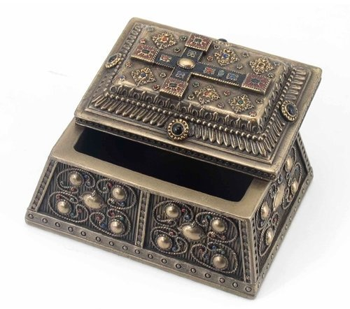 - 3.88 Inch Medieval Style Cross Decorative Trinket Box, Bronze Color