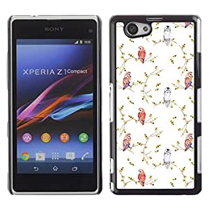 Paccase / SLIM PC / Aliminium Casa Carcasa Funda Case Cover - Bird White Wallpaper Watercolor - Sony Xperia Z1 Compact D5503