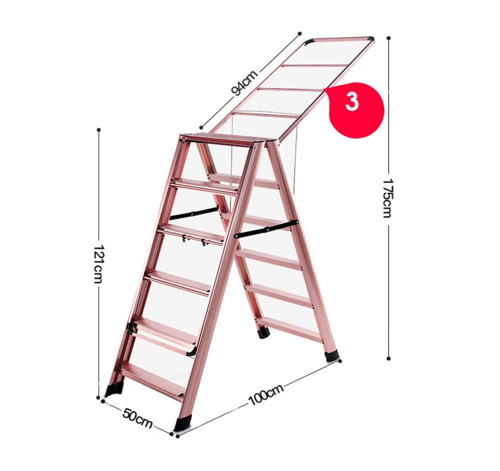tendedero de Ropa Plegable, tendedero Extensible, Escalera Plegable Tipo de ala Escalera de Seis escalones Estante de Secado de Doble propósito Oro Rosa 131 * 50 * 15.5cm: Amazon.es: Hogar