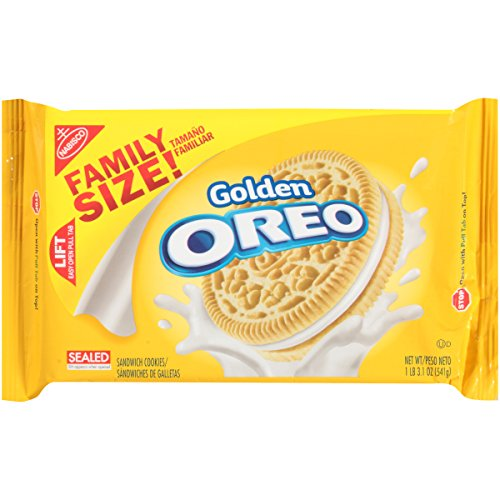 OREO Golden Sandwich Cookies Vanilla Flavor 1 Resealable Family Size Pack