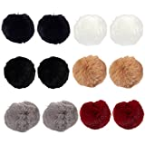 Pom Pom Fur Balls – 12-Piece Faux Fur Fluffy Balls, Perfect for Bag Charms, Crochet, Knitting Project, Arts and Craft, 4 x 4 x 4 Inches