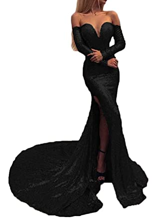 94766963 Sexy Off Shoulder Sequins Prom Dresses 2019 Mermaid Long Sleeves Evening  Dress Party Gowns for Women