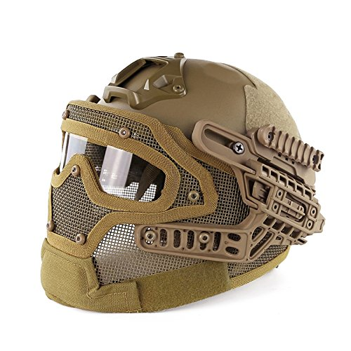 A&N Airsoft Tactical Helmet Mask With Goggles MH Style G4 System Protective Gear In Tan by A&N