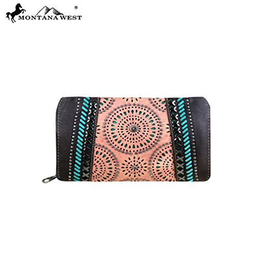 MW354-W010 Montana West Concho Collection Secretary Style Wallet-Coffee