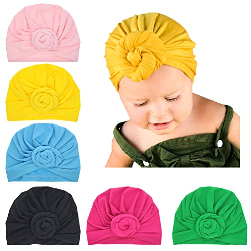 Xinshi Girls Baby Cotton Cloth Turban Kont Toddler Tabbit Ear Hat Kids Set Head Cap (MC3 (6PCS))