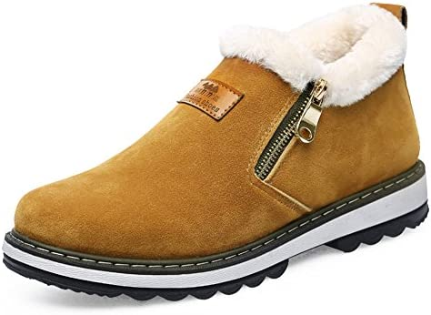78cca9bc9debd Coolloog Men's High Top Snow Boots Zipper Closed Fur Lined Suede ...