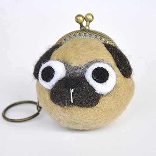Pug coin purse, wet felted animal pouch, pug keychain, kiss lock purse, kiss lock pouch