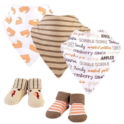 Hudson Baby Baby Bandana Bib & Socks Set, 5 Piece, Pumpkin Pie, 0-9 Months ()