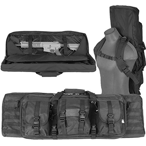 Lancer Tactical 600 Denier Polyester Double Carbine Soft Case Accessory Pouches MOLLE Webbing Secondary Gun Compartment Quick Detach Buckles Inner Storage Backpack Straps