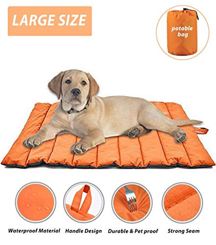 (Cheerhunting Outdoor Dog Bed Portable Travel Dog Bed Extra Large Dog Mat Cat Mat Orange Oversize Waterproof Dog Mat Pet Mat)