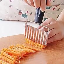 Bazaar Stainless Steel Handle Potato Carrot Wavy Cutter French Fries Chips Chipper Cutter Slicer Chipper