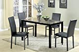 The Room Style 5 Pc. Faux Marble Top Metal Simple Dinette Dining Set, 1 Table with 4 Chairs (Black) Review