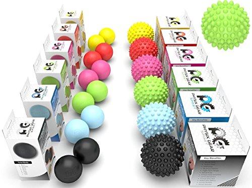 Physix Gear Sport Lacrosse Ball Set of 2 - Best Deep Tissue Massage Balls for Trigger Points, Plantar Fasciitis Neck & Back Pain - Roller for Rehab, Acupressure Foot Reflexology & Myofascial (BLU 2PK) (Vibrant Ball Stress)