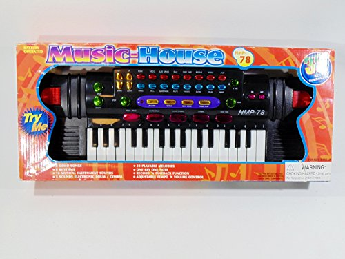 Music House 32 Key Synthesizer (Battery Operated)- 8 Demo Songs, 8 Rhythms, 16 Musical Equipment (Demo Equipment)