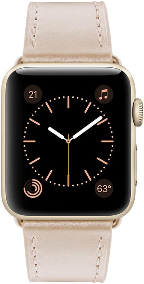 Marge Plus Compatible with Apple Watch Band 42mm 44mm, Genuine Leather Replacement Band Compatible with Apple Watch Series 5 4 (44mm) Series 3 2 1 (42mm),Light Gold Band/Gold Adapter