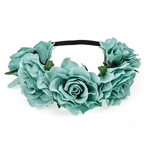 DreamLily Women's Hawaiian Stretch Flower Headband for Garland Party BC12(Tiffany - Blue Dress Hair