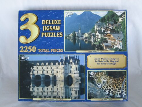 3 Deluxe Jigsaw Puzzles in 1: (Hallstat, Austria) (Chateau Chenonceau, France) (Lazy Leopard) (Lazy Leopard)