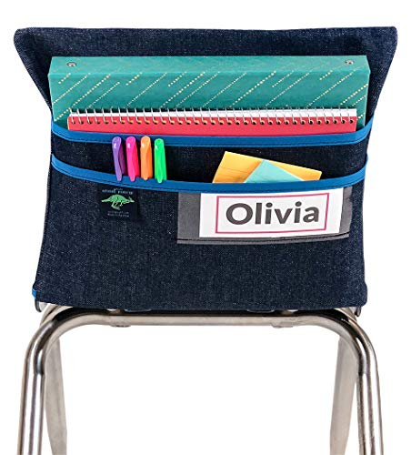 Aussie Pouch Chair Pocket with Double Pocket Design and Name Tag Pocket, Large, 17 Inches, Blue -