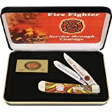 Case Cutlery CAT-FF Case's Fire Fighter Fire in the Box Corelon Handel Trapper Pocket Knife with Tru Sharp Surgical Steel Blades, Red